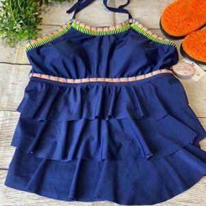Justice Tankini Top Ruffle Layer Embroidery Trim